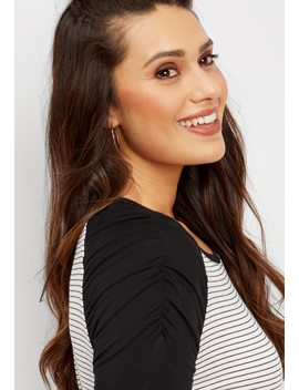 24/7 Striped Ruched Sleeve Baseball Tee by Maurices