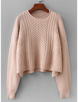 Drop Shoulder Cable Knit Jumper by Sheinside