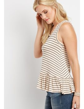 V Neck Striped Peplum Tank by Maurices