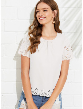 SheinGathered Neck Scallop Laser Cut Top by Shein