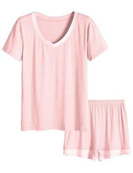 Latuza Women's V Neck Sleepwear Short Sleeve Pajama Set by Latuza