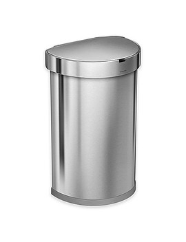 Simplehuman® Fingerprint Proof 45 Liter Semi Round Sensor Trash Can In Brushed Stainless Steel by Bed Bath And Beyond