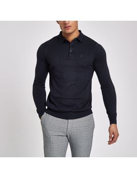 Navy Slim Fit Long Sleeve Polo Shirt by River Island