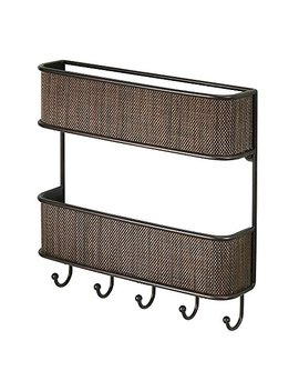 Inter Design Twillo 2 Tier Mail Organizer And Key Rack   Wall Mounted Letter Shelf And Key Hooks, Bronze by Inter Design