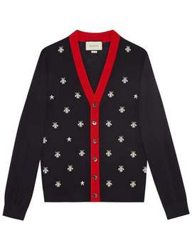 Gucci Wool Cardigan With Bees And Starshome Men Gucci Clothing Cardigans by Gucci