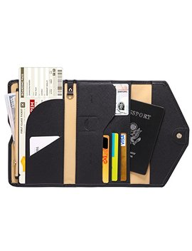 Zoppen Mulit Purpose Rfid Blocking Travel Passport Wallet (Ver.4) Tri Fold Document Organizer Holder, 1 Black by Zoppen