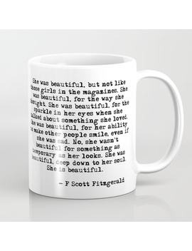 She Was Beautiful   Fitzgerald Quote Coffee Mug by