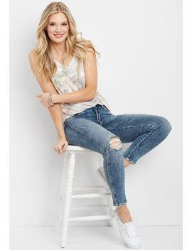 Silver Jeans Co. ® Avery High Rise Destructed Cropped Jegging by Maurices