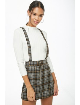 Pull Ring Plaid Pinafore Dress by Forever 21