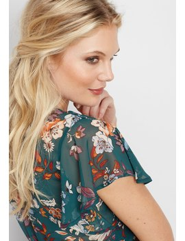 Floral Ruffle Sleeve Dress by Maurices