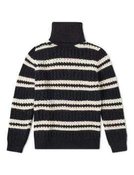 Saint Laurent Chunky Stripe Roll Neck Knit by Saint Laurent