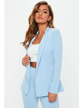 Light Blue Tie Waist Jersey Blazer by Missguided