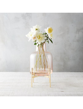 Square Neck Vase, Brass Stand by Terrain