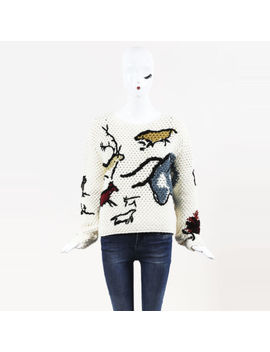 "Christian Dior Nwot Cream Multicolor Crochet Embroidered ""Sauvage"" Sweater Sz 36 by Dior"