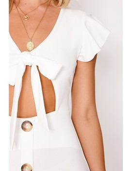 Lele White Tie Front Button Down Dress by In The Style