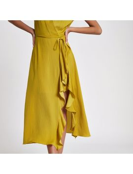 Yellow Frill Wrap Front Midi Dress by River Island