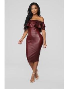 Fall Into Place Dress   Burgundy by Fashion Nova