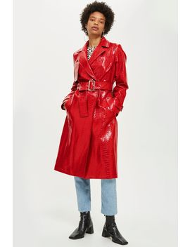 Croc Embossed Coat by Topshop