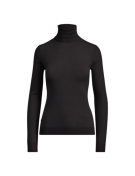 Ribbed Silk Blend Turtleneck by Ralph Lauren