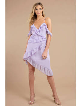 Dhalia Lavender Chiffon Asymmetrical Midi Dress by Tobi