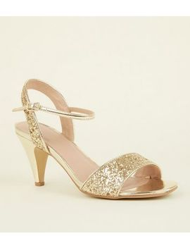 Wide Fit Gold Glitter Cone Heels by New Look