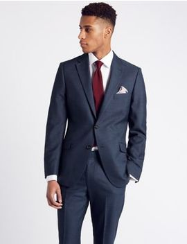 Blue Textured Slim Fit Suit by Free Shirt With This Suit
