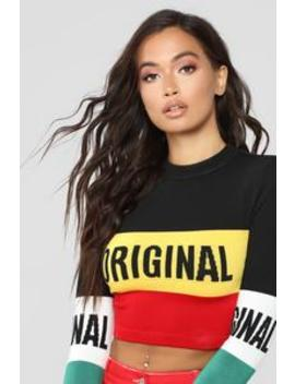 Original Babe Cropped Sweater   Black/Combo by Fashion Nova