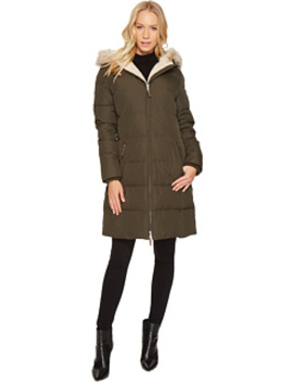 Faux Leather Trim Hooded Down W/ Berber by Lauren Ralph Lauren