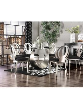 Furniture Of America Serenia Contemporary Satin Metal Dining Table by Furniture Of America