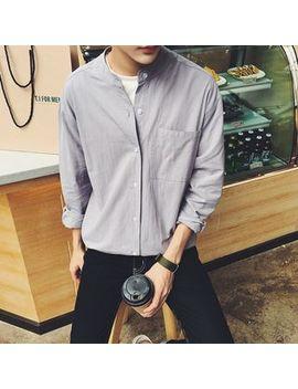 Plain Band Collar Shirt by Real Boy