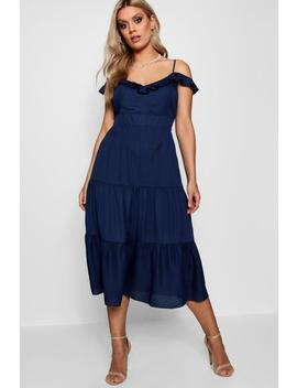 Plus Frill Detail Cold Shoulder Dress by Boohoo