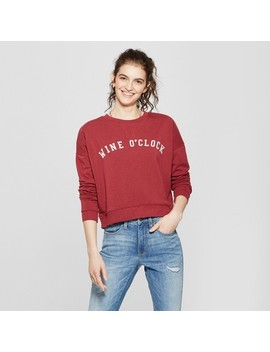 Women's Wine O'clock Pullover Sweatshirt   Fifth Sun Burgundy by Shop All Fifth Sun