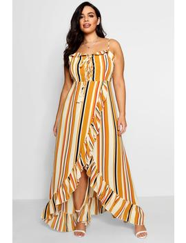 Plus Boho Stripe Ruffle Maxi Dress by Boohoo