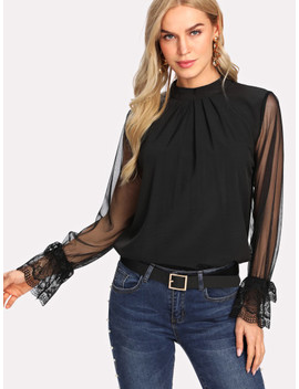 Contrast Mesh Button Keyhole Back Blouse by Sheinside
