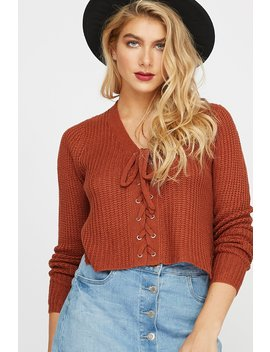 Soft Knit Lace Up Cropped Sweater by Urban Planet