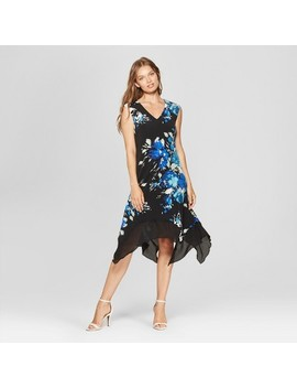 Women's Floral Print Sleeveless Handkerchief Hem Dress   Lux Ii   Black/Blue by Shop All Lux Ii