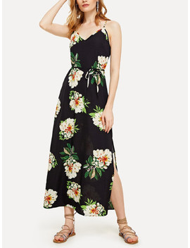 Floral Print Self Tie Waist Dress by Sheinside