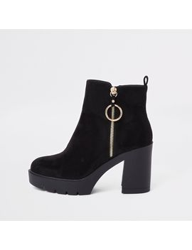 Black Zip Side Chunky Boots by River Island