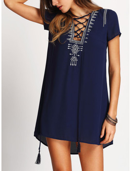 SheinTasseled Lace Up Embroidered Dress by Shein