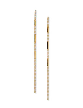 14 K Gold Long Expose Bar Earrings With Diamonds by Lana