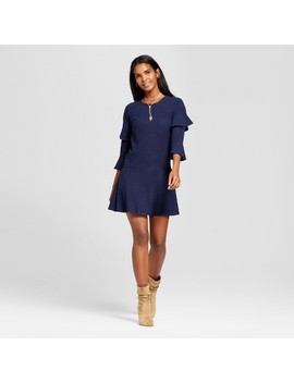 Women's Ribbed Ruffle Sleeve Sweater Dress   Éclair Navy by Shop All Eclair