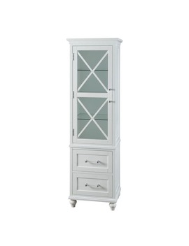 Grayson White Linen Tower With 2 Drawers And Chrome Hardware By Elegant Home Fashions by Essential Home Furnishings