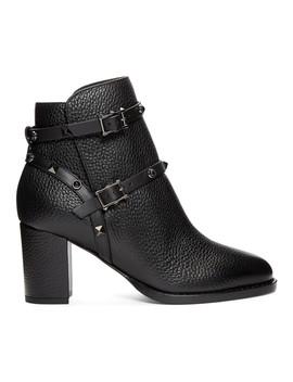 Black Valentino Garavani Rockstud Block Heel Ankle Boots by Valentino