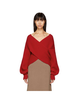 Red Ribbed Cocoon Sweater by Rosetta Getty