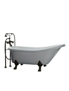 All In One 5.5 Ft. Acrylic Oil Rubbed Bronze Clawfoot Slipper Tub In White by Home Depot