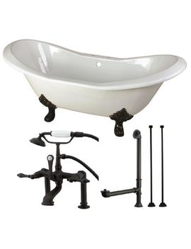 Double Slipper 6 Ft. Cast Iron Clawfoot Bathtub In White And Faucet Combo In Oil Rubbed Bronze by Aqua Eden