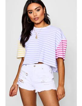 Pastel Contrast Stripe Boxy Crop by Boohoo