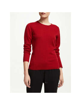 John Lewis Cashmere Crew Neck Sweater, Red by John Lewis