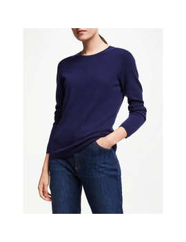 John Lewis Cashmere Crew Neck Sweater, Navy by John Lewis