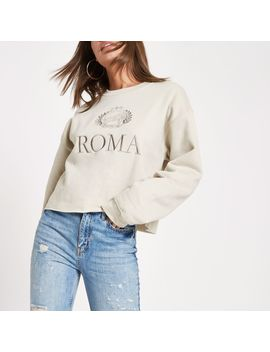 Beige 'roma' Print Embroided Sweatshirt by River Island